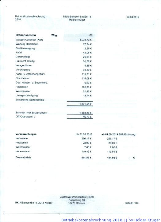 Betriebskostenabrechnung 2018 | J Holger Krüger